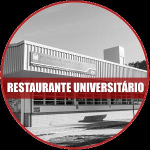 Restaurante universitário: Imagem em preto e branco da fachada do restaurante universitário do campus de Florianópolis.